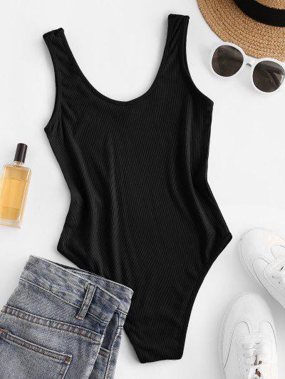 Bodysuit Con Cuello En U Acanalado - Negro M