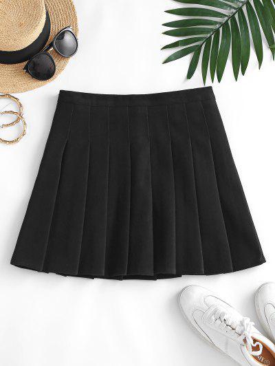 Knife Pleated A Line Mini Skirt - Black L