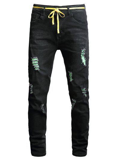 Distressed Destroy Wash Long Denim Pants - Black 36