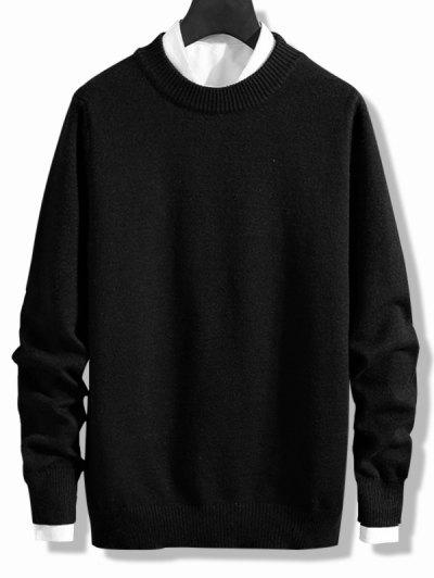 Crew Neck Solid Pullover Knit Sweater - Black M