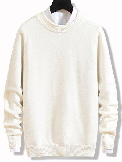 Crew Neck Solid Pullover Knit Sweater - White Xs