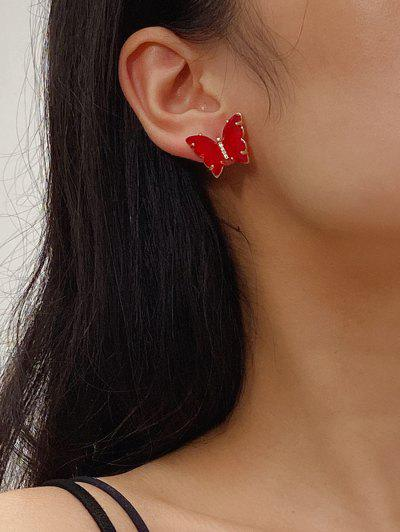Butterfly Zircon Copper Stud Earrings - Red