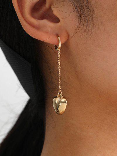 Brief Heart Chain Dangle Earrings - Golden