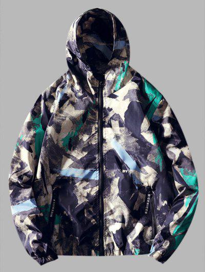Paint Print Hooded Windbreaker Jacket - Medium Turquoise Xs