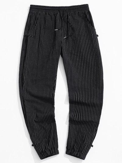 ZAFUL Striped Pattern Frog Button Pants - Black M
