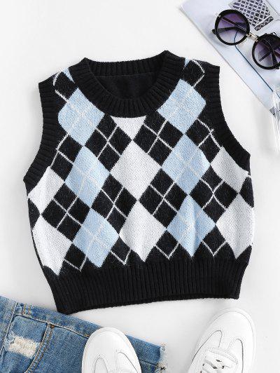 ZAFUL Argyle Rib Trim Crop Sweater Vest - Black M