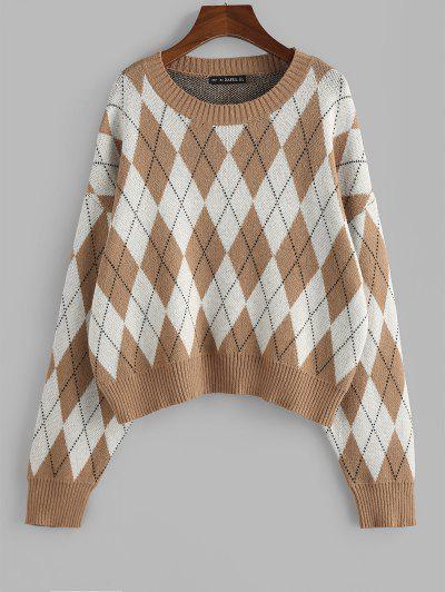 ZAFUL Argyle Drop Shoulder Oversized Sweater - Deep Yellow S
