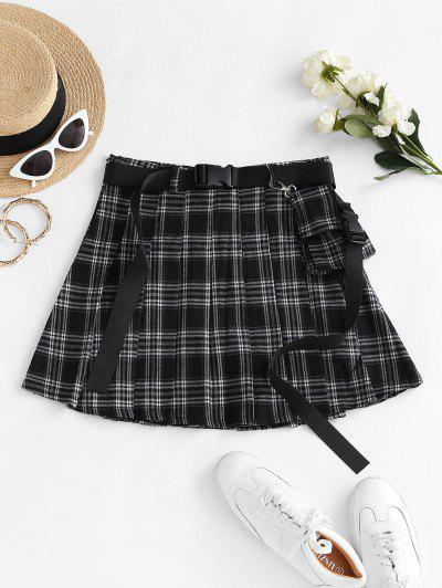 Plaid Buckle Belted Knife Pleated Skirt - Black S