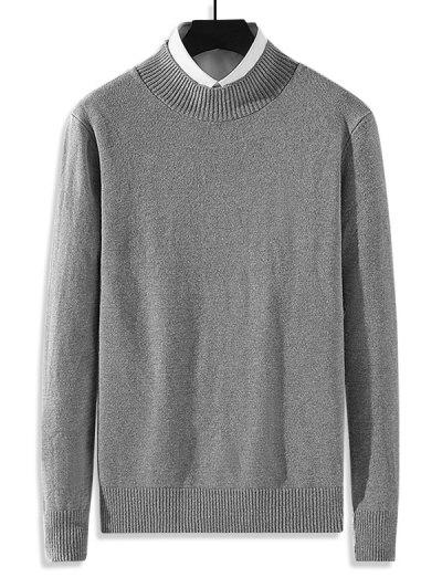 Mock Neck Solid Knit Sweater - Gray S