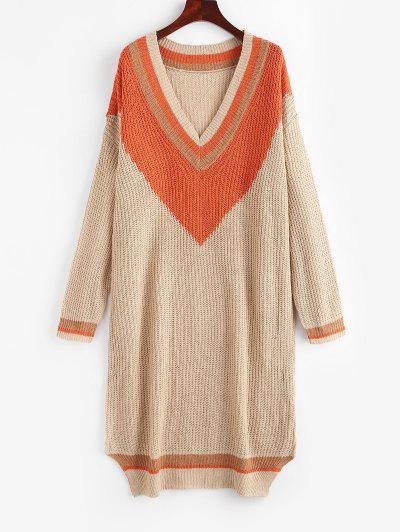 Colorblock Cricket Sweater Dress - Light Coffee L