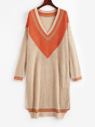 Farbblock Manschette Pullover Kleid - Licht Kaffee S