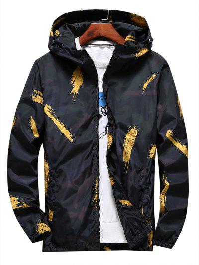 Hooded Paint Line Print Zip Up Jacket - Yellow S