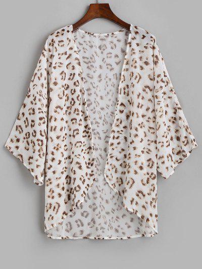 Leopard Chiffon Offenen Kimono Cover Up - Weiß L