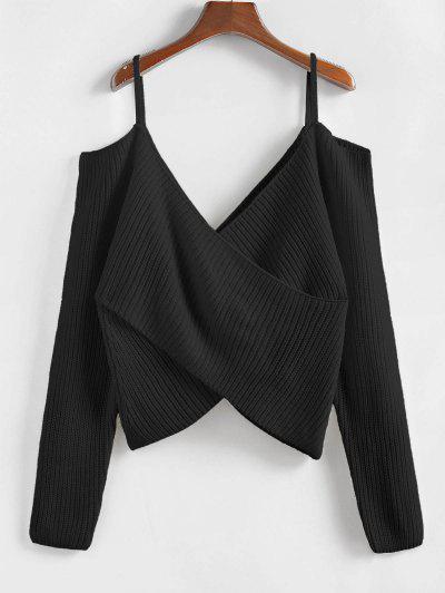 ZAFUL Overlap Cold Shoulder Jumper Sweater - Black L
