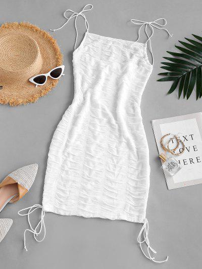 Ruched Tie Shoulder Bodycon Cami Dress - White L