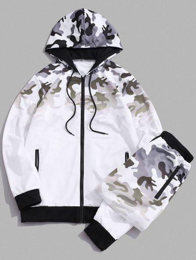 Camouflage Ombre Print Two Piece Set - White S