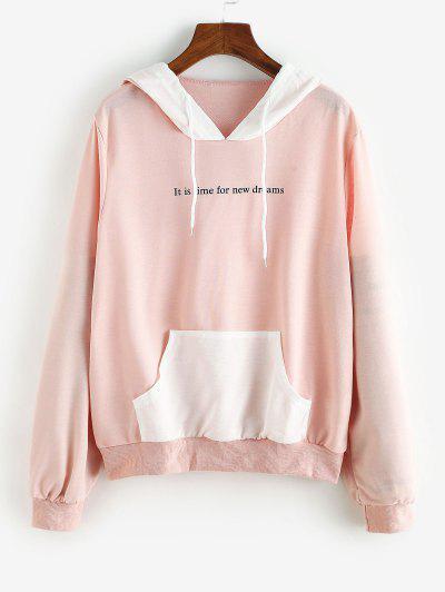 Colorblock Front Pocket Drawstring Cat Hoodie - Light Pink Xl