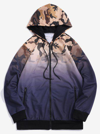 Ombre Camouflage Print Hooded Jacket - Purple L
