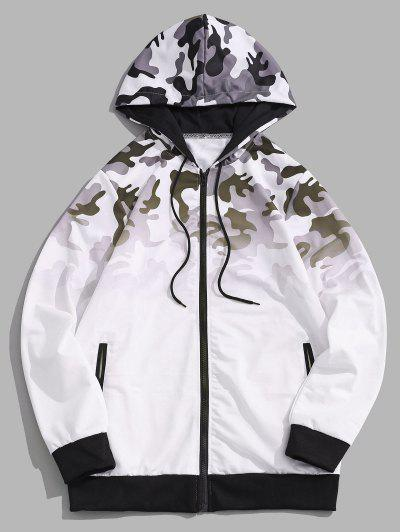 Ombre Camouflage Print Hooded Jacket - White L