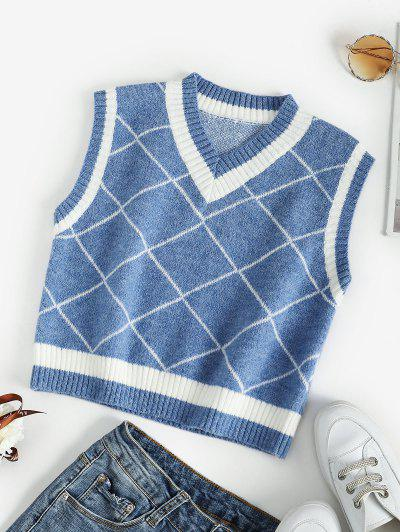 Rhombus V Neck Colorblock Sweater Vest - Blue M