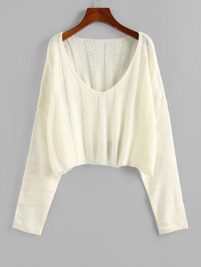 ZAFUL Plunging Drop Shoulder Oversized Crop Sweater - Light Yellow M