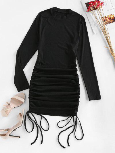 ZAFUL Ribbed Cutout Cinched Bodycon Dress - Black M