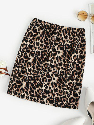 Leopard High Waisted Bodycon Skirt - Brown S