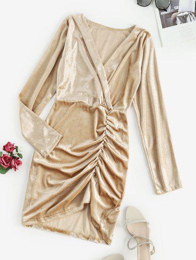 Gathered Velvet Long Sleeve Surplice Dress - Light Coffee S