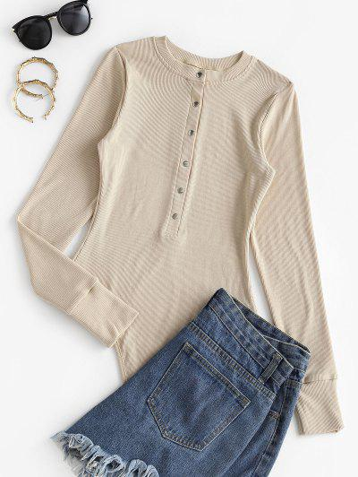 Ribbed Placket Snap Crotch Long Sleeve Bodysuit - Light Coffee S