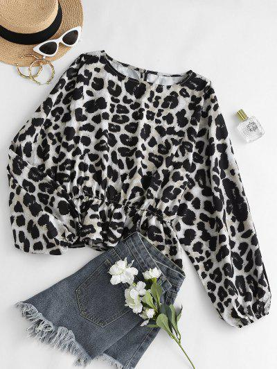 Leopard Oversized Dolman Sleeve Peplum Blouse - Coffee M