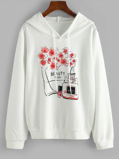 Drawstring Floral Beauty Club Hoodie - White M