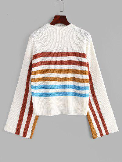 Mock Neck Striped Sweater - White M