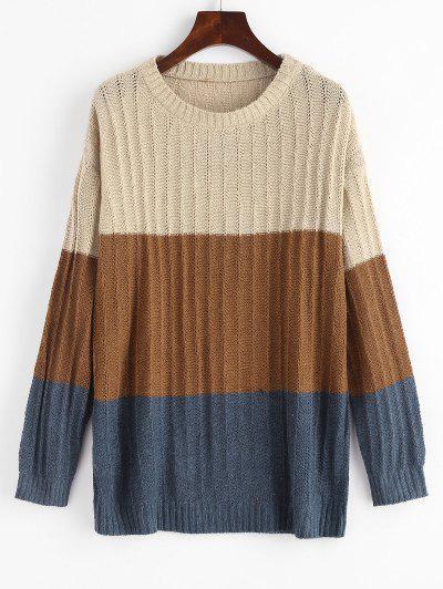 Colorblock Pointelle Knit Sweater - Light Coffee S