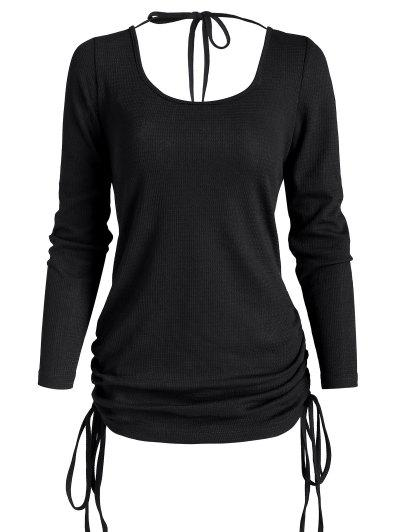 Cinched Side Tie Open Back Tunic Top - Black S