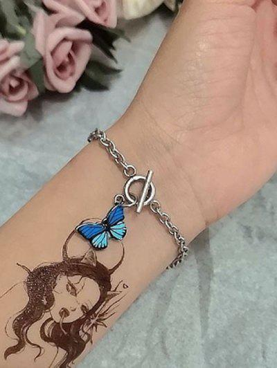 Bracelet Simple Chaîne Papillon - Bleu Profond