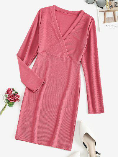 Long Sleeve Ribbed Surplice Mini Dress - Rose Red L