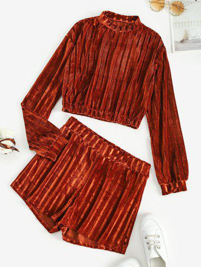 Mock Neck Velvet Cropped Two Piece Set - Brown M