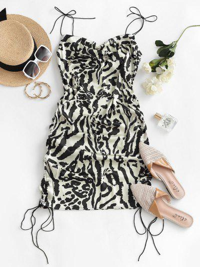 Leopard Cinched Tie Shoulder Satin Cami Dress - Multi S
