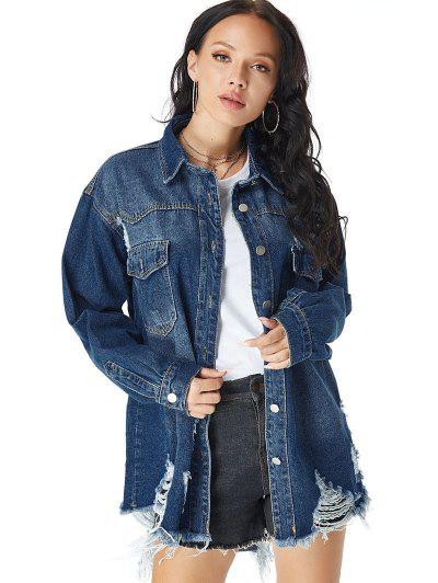 Distressed Pocket Drop Shoulder Long Denim Coat - Blue M