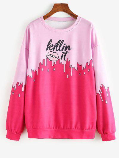 Boyfriend Lip Letter Graphic Sweatshirt - Rose Red S