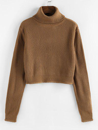 ZAFUL Turtleneck Scalloped Hem Crop Sweater - Coffee S