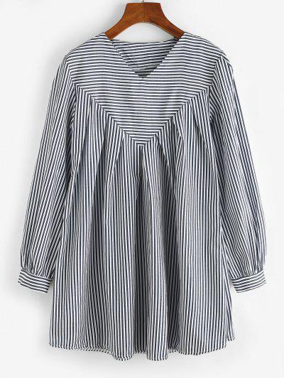 Contrast Stripes Long Sleeve Tunic Dress - Deep Blue M