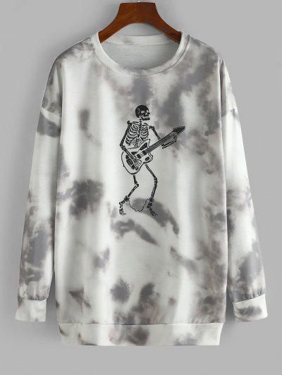 Halloween Skeleton Tie Dye Oversized Drop Shoulder Sweatshirt - Taupe S
