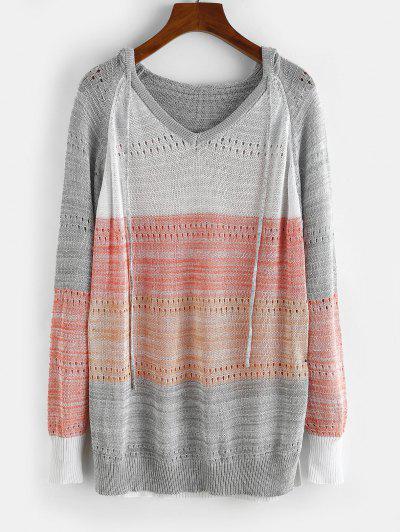Raglan Sleeve Colorblock Pointelle Knit Sweater - Gray M