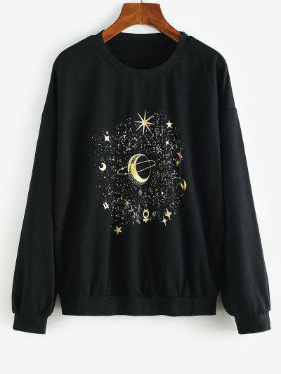 Gilded Planet Star Graphic Sweatshirt - Black S