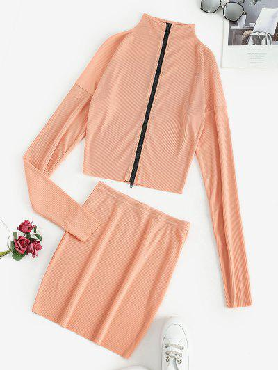Ribbed Zip Up Mock Neck Two Piece Dress - Tangerine S