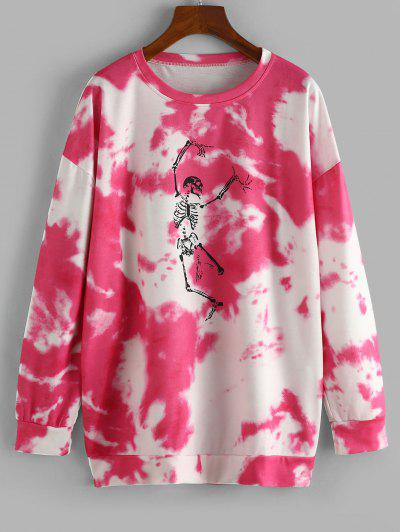Halloween Skeleton Graphic Tie Dye Sweatshirt - Rose Red L