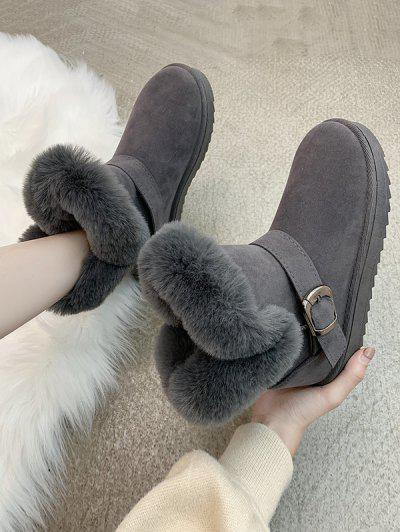 Buckle Faux Fur Snow Boots - Gray Eu 37