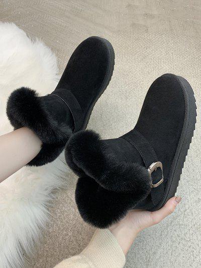 Buckle Faux Fur Snow Boots - Black Eu 40
