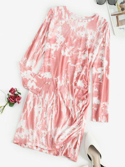 Tie Dye Ruched Long Sleeve Bodycon Dress - Light Pink S